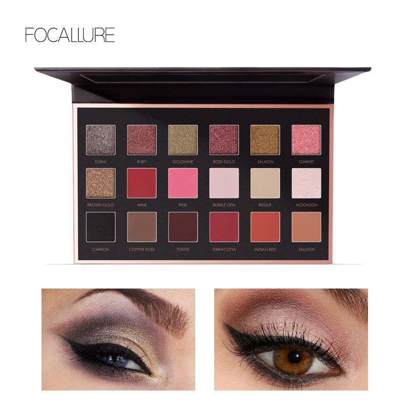 FOCALLURE 18 Colors Shimmer Matte Glitter makeup Eyeshadow Palette With mirror