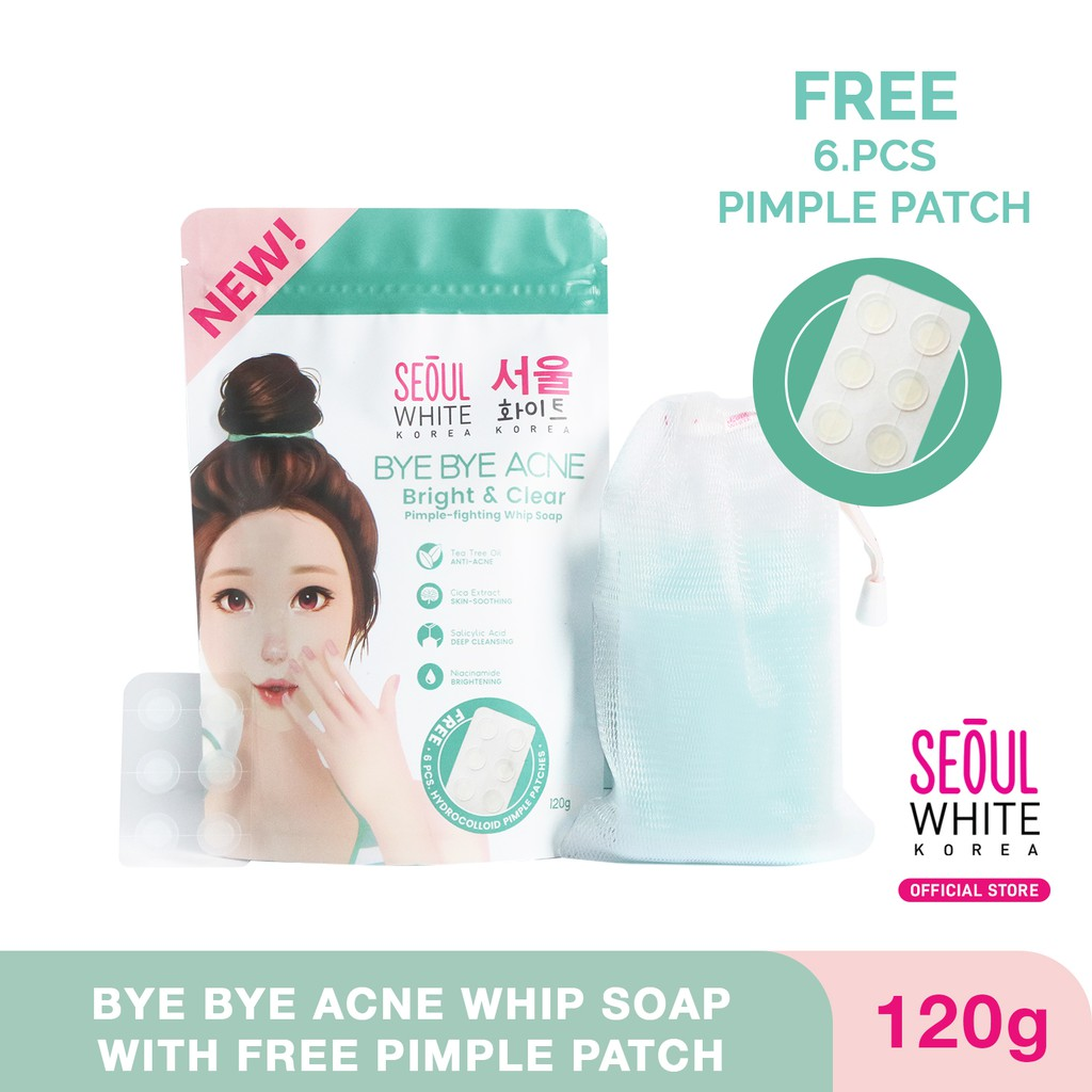 Seoul White Korea BYE BYE ACNE Pimple-fighting whip soap FREE 6-pc Pimple Patch