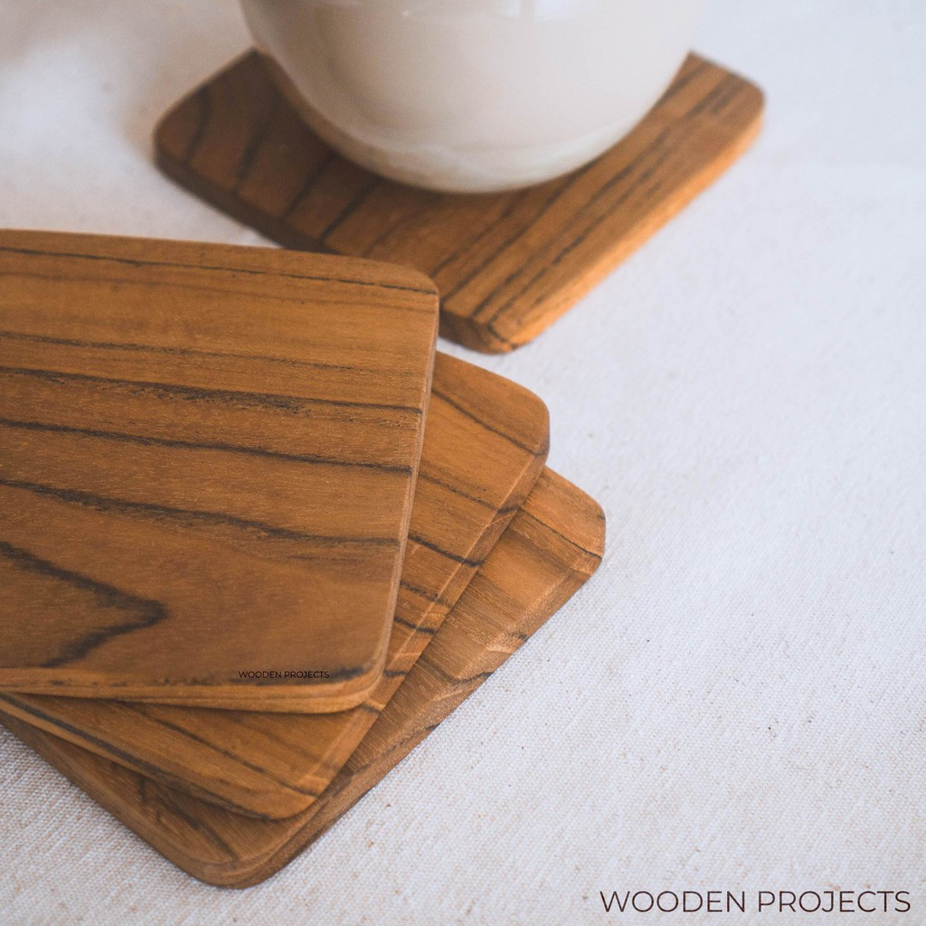 Wooden Projects Wood Coasters Placemats Square Teak Wood Coasters - Tg2