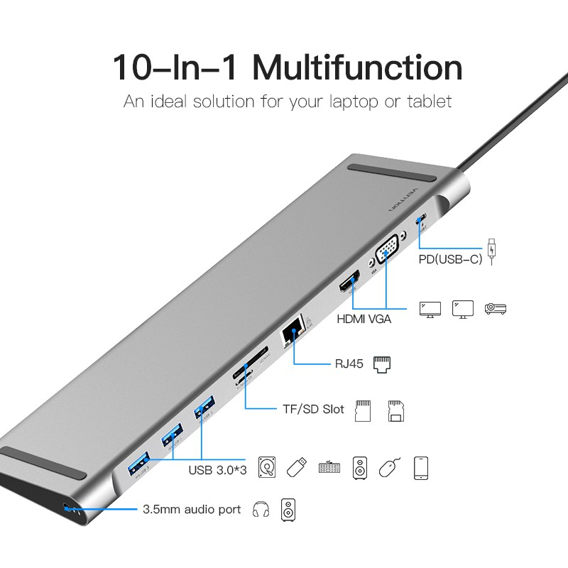 Vention HUB 10 in 1 USB Type-C to HDMI VGA Converter Adapter