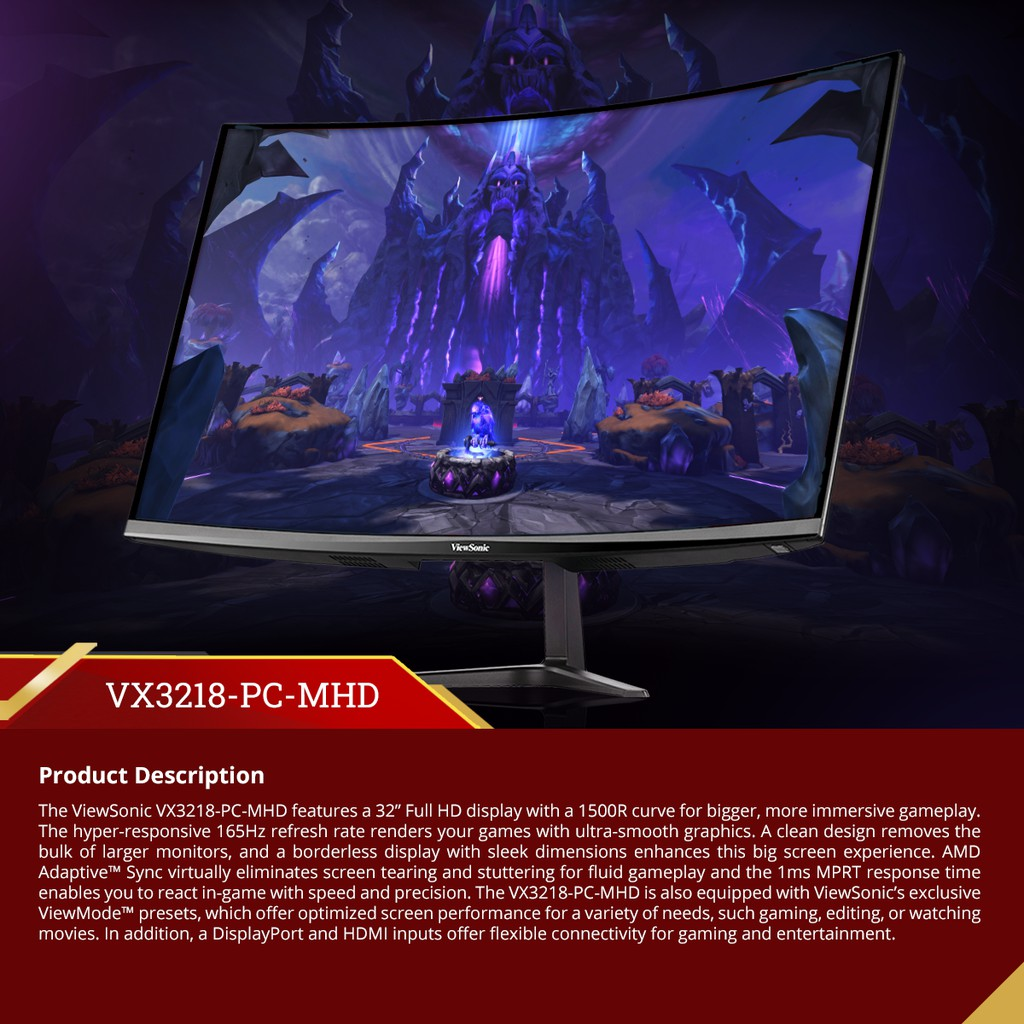 """ViewSonic 32"""" Curved Gaming Monitor VX3218-PC-MHD 