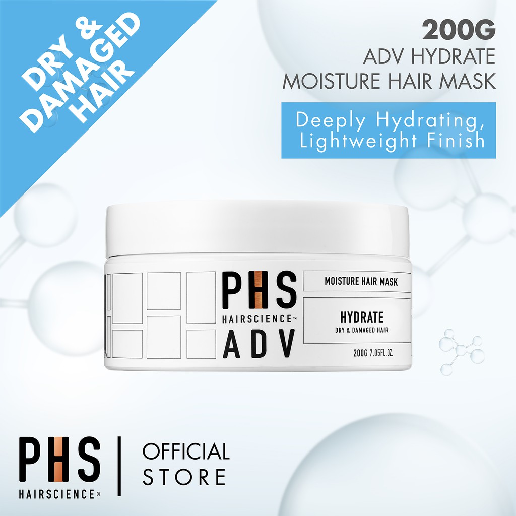 PHS HAIRSCIENCE ADV Moisture Hair Mask 200g [For Dry Hair, Deeply Hydrating & Lightweight Finish]