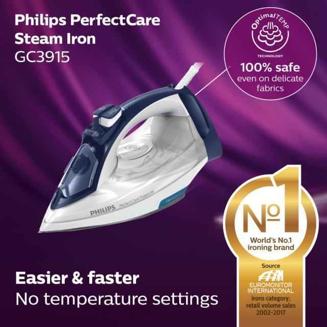 [FREE IRONING BOARD] Philips PerfectCare Steam Iron 180g Steam Boost 2400W GC3915/16