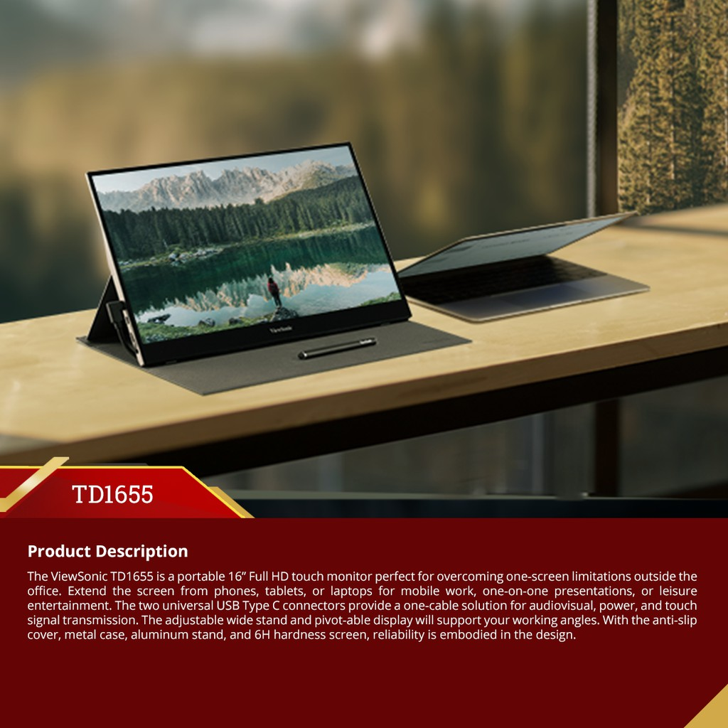 """ViewSonic TD1655 - 15.6"""" Portable Touch Monitor 