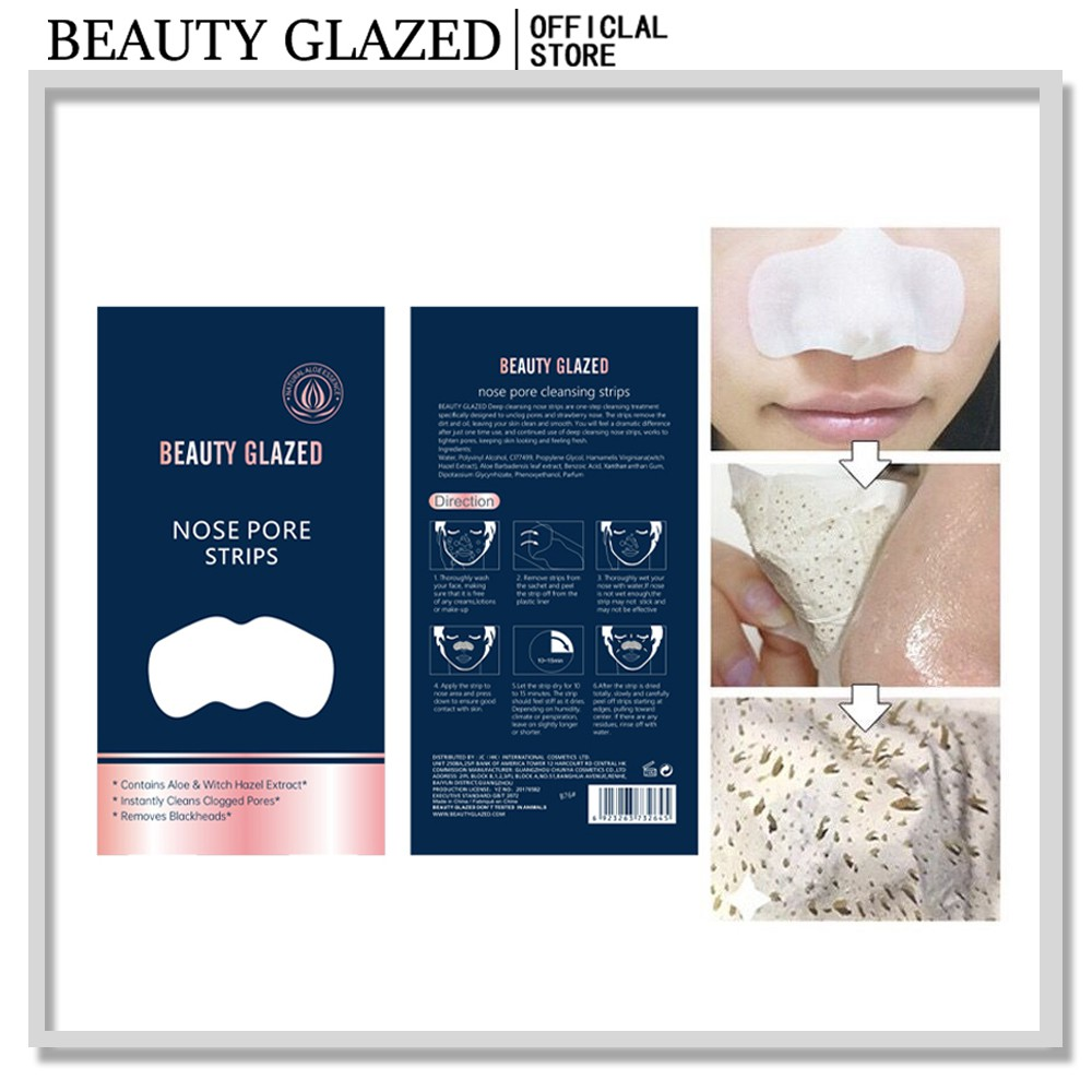1 piece Blackhead Remover Nose Pore Strips Tear Nose Patch/nasal Membrane Deep Cleaning Beauty Glazed