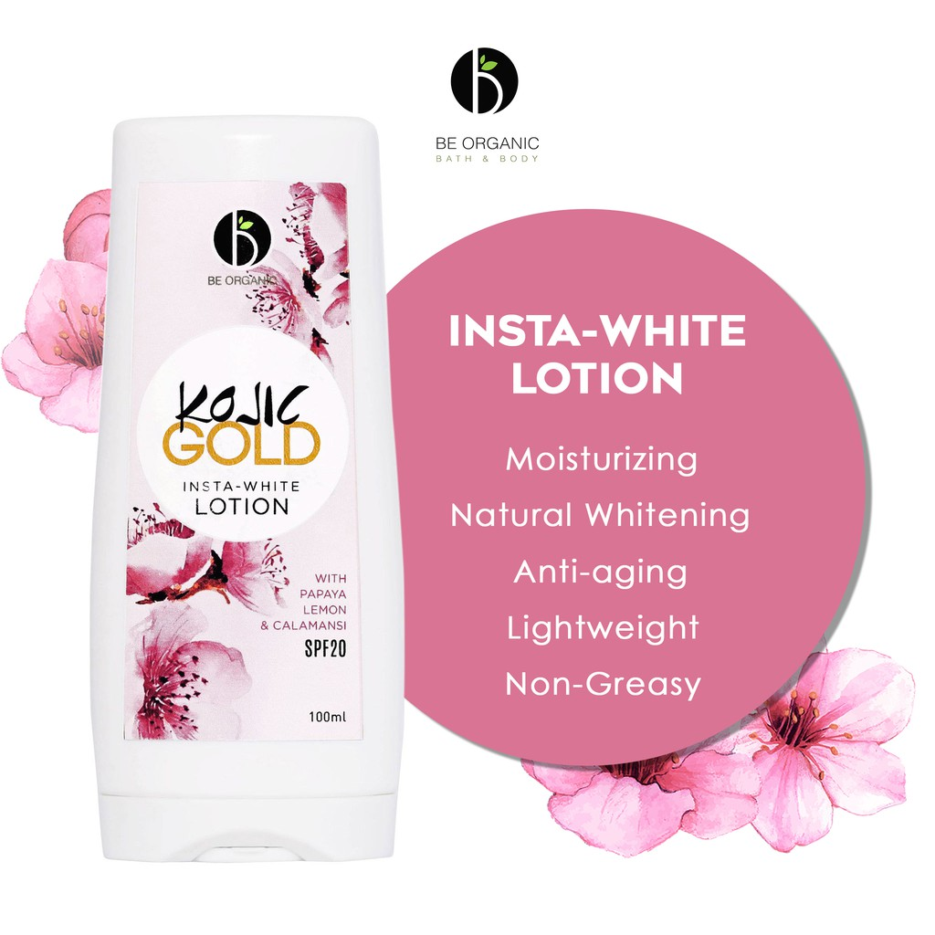 Be Organic Kojic GOLD Insta-White Lotion With SPF20 100ml