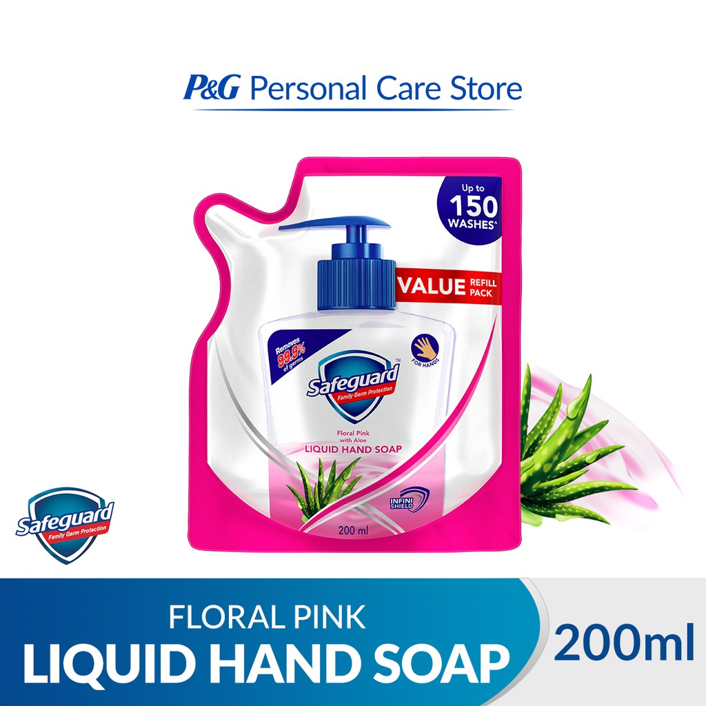 Safeguard Family Germ Protection Liquid Hand Soap Refill Floral Pink with Aloe 200ml