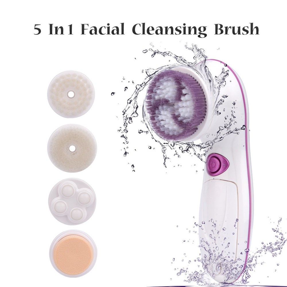 CkeyiN 5 in 1 Facial Brush Face Electric Cleansing Brush Massage Beauty Tool