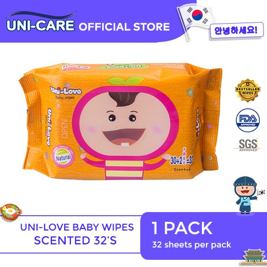 UniLove Powder Scent Baby Wipes 32's Pack of 1