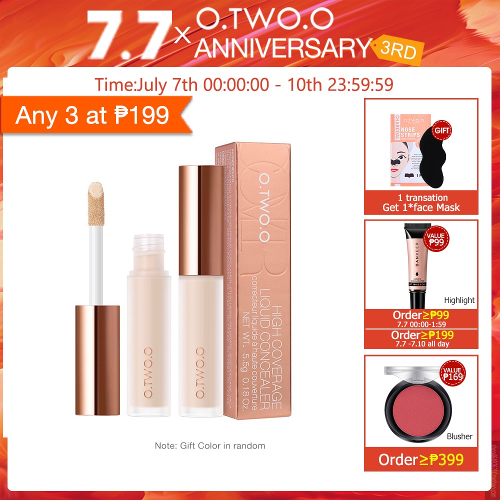 O.TWO.O Liquid Concealer Primer High Coverage Natural Long Lasting 4 Colors