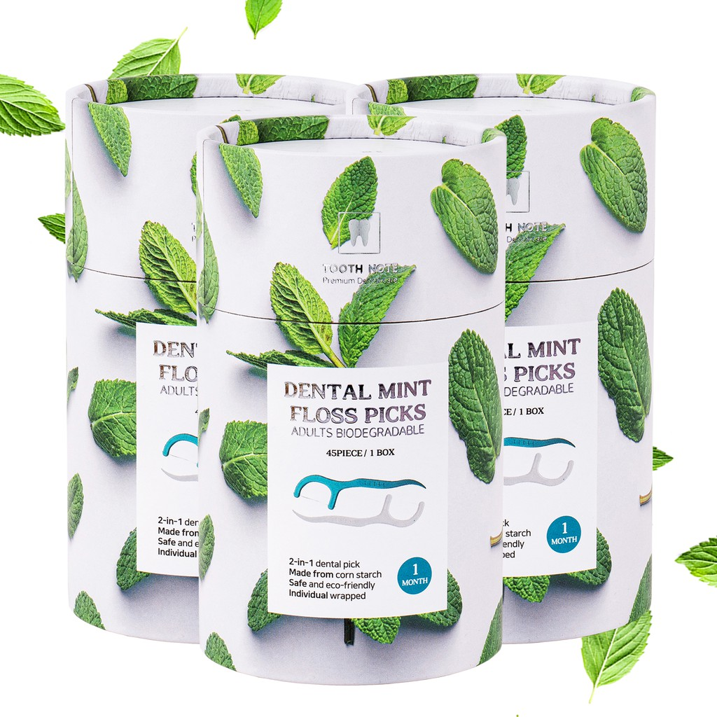 [TOOTH NOTE] Dental Mint Floss Picks45pcs for a month x3, 2-in-1 function, eco-friendly, hygienic, individually packed picks
