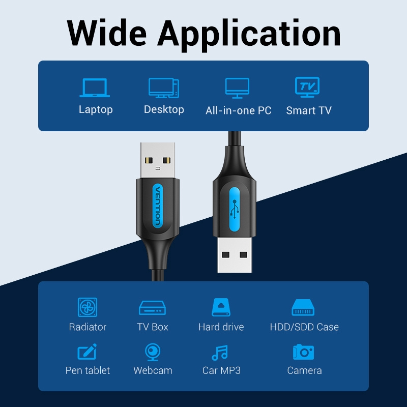 Vention Kabel Extension Usb 2.0 Male To Male 2a 480mbps Untuk Laptop / Pc
