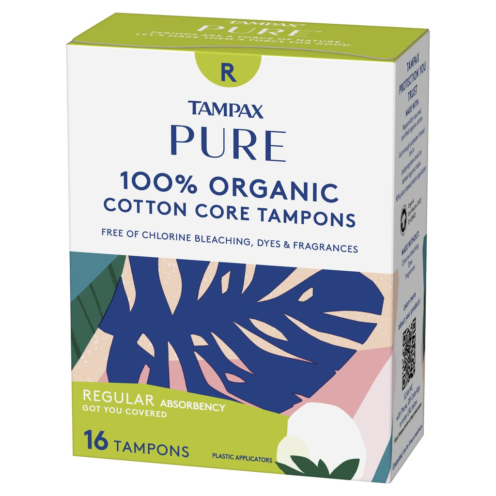 Tampax Pure Tampons Regular/Super Absorbency, Unscented, 16 Pcs
