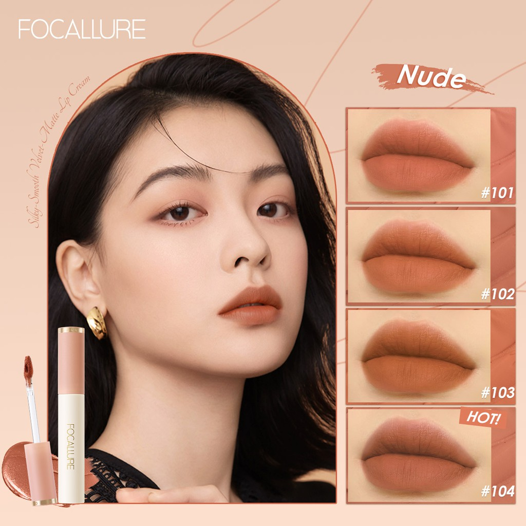 Focallure Smooth Velvet Matte Lipstick Tint High Pigmented Soft Silky Texture Easy To Apply