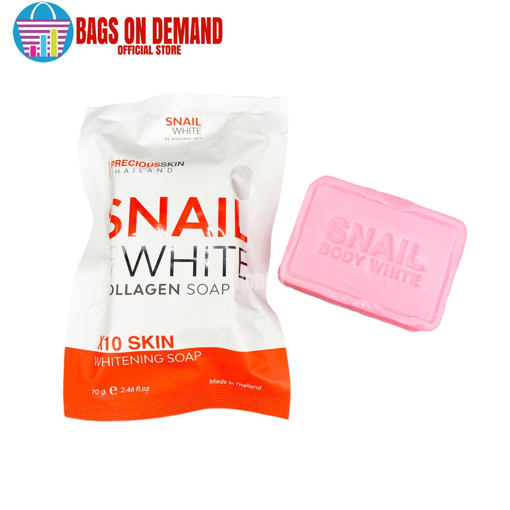 Bags on Demand Snail White Collagen Soap x10 Whitening Thailand Authentic