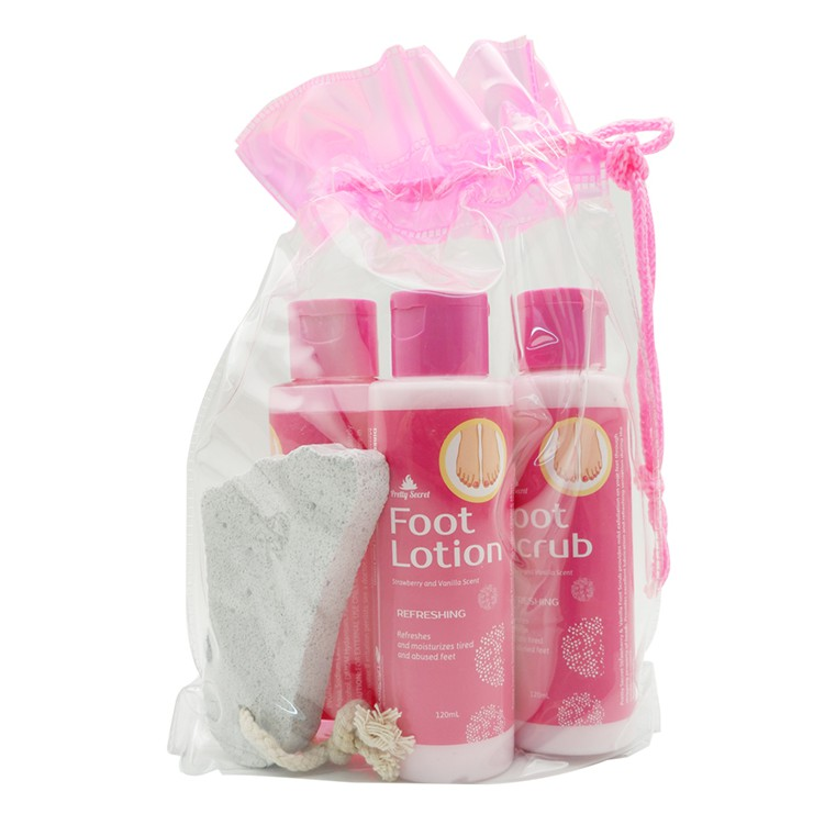 PRETTY SECRET Strawberry and Vanilla Foot Pack with Pumice 4 x 120ml