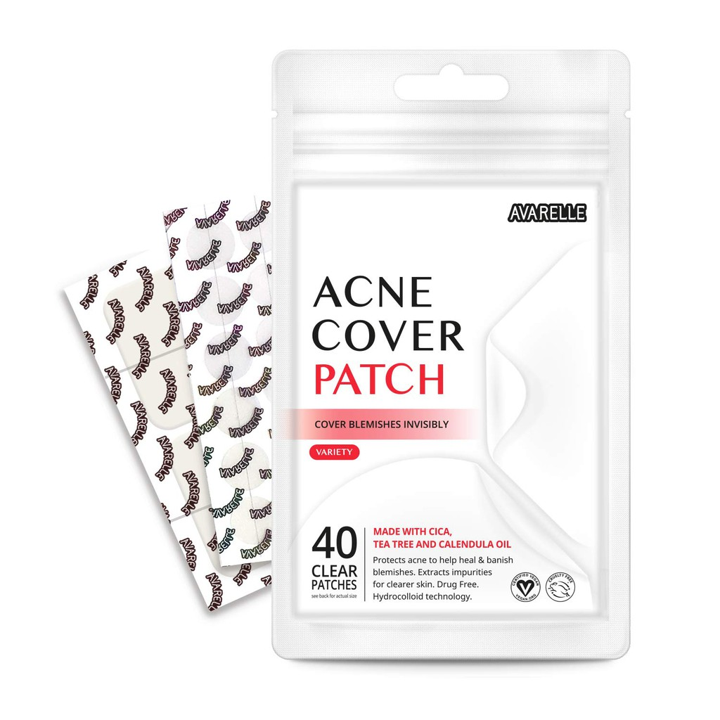 AVARELLE  Pimple Patches40 VARIETY PATCHES Hydrocolloid, Tea Tree, Calendula Oil, CICA