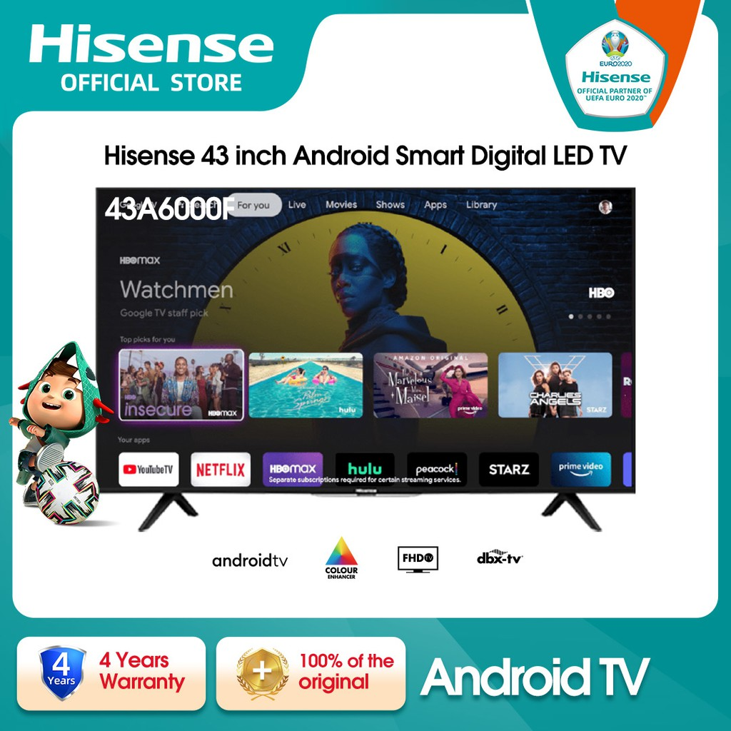 Hisense TV Android SMART 43A6000F FHD DTS Studio Sound Game Mode Bluetooth