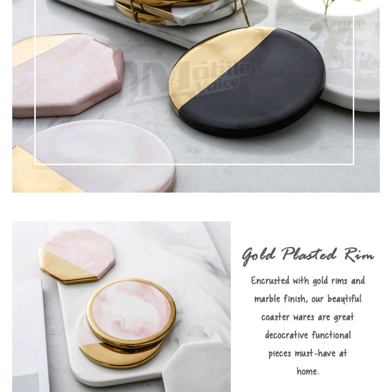 Pixelmagix Sophia Premium Marble Coasters Insulation Placemat for Kitchen and Home with Anti-Slip Padding