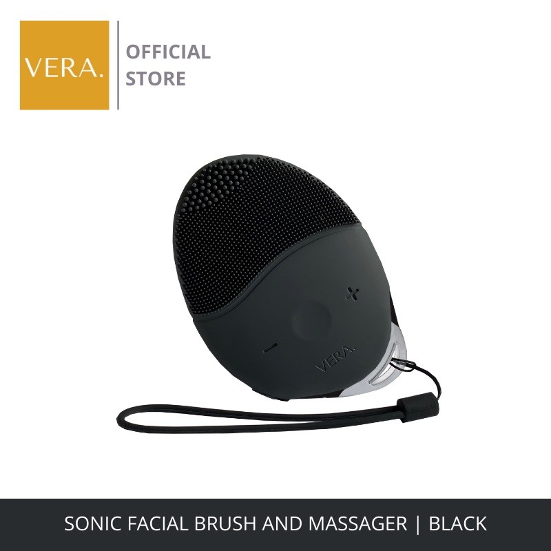 Vera Sonic Facial Brush and Massager 15 Speed Deep Cleansing Silicone - Black