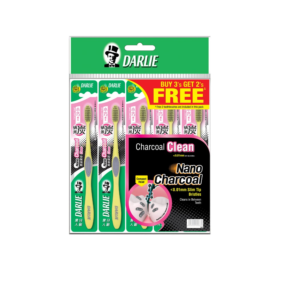 Darlie Charcoal Clean Toothbrush Compact Buy 3 Get 2 Free Value Pack 5s