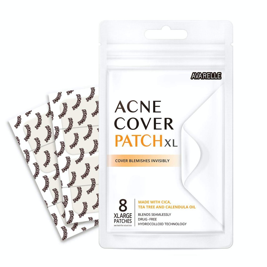 Avarelle Acne Pimple Patch face mask 8 Count Absorbing Hydrocolloid Spot Treatment with Tea Tree Oil, Calendula Oil and Cica, Vegan, Cruelty Free Certified XL Square / 8 PATCHES