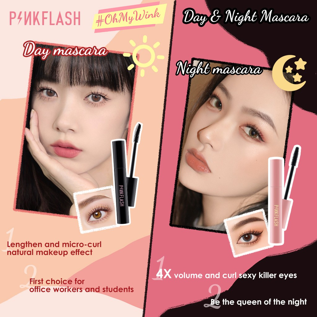 Pinkflash OhMyWink Mascara Day And Night Lengthening Volume Waterproof Fiber Filled Silicone Wands