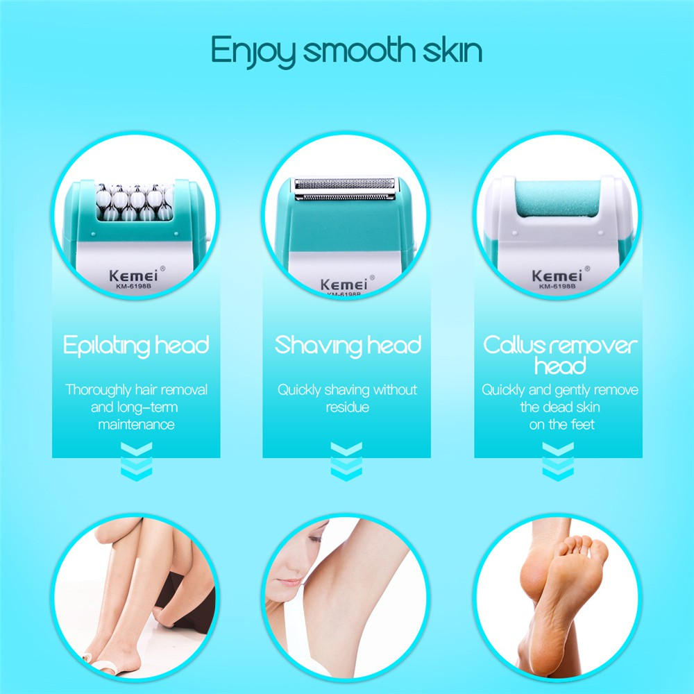 CkeyiN 3 in 1 Electric Lady Hair Epilator Shaver Callus Remover Pedicure Foot Care