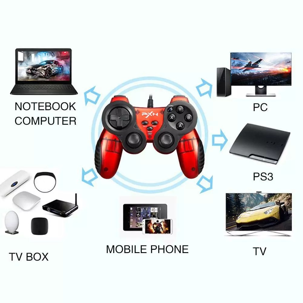 PXN 2901 Double Shock Turbo Wired Gamepad Joystick PC X-inpuT, D-input for PC/Android/TV/STB, PS3