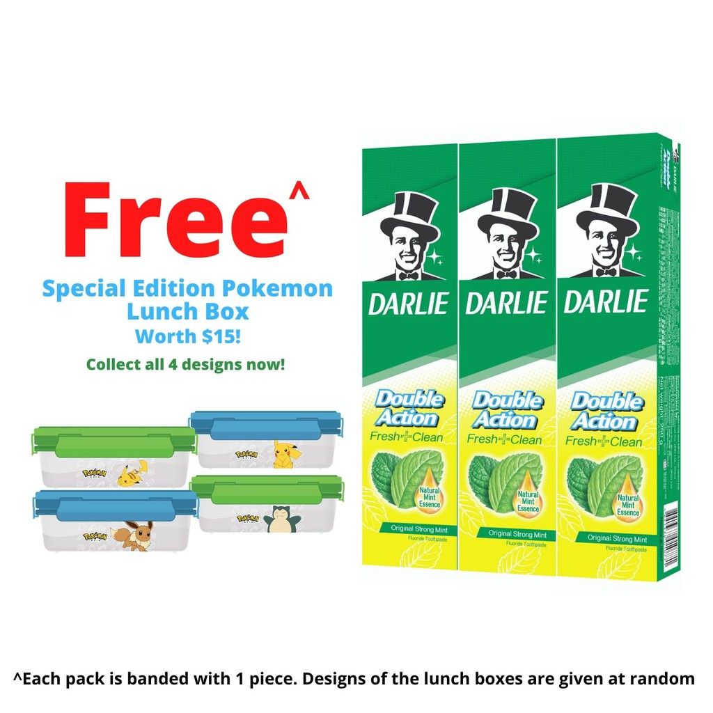 [Bundle of 3] Darlie Double Action Fluoride/Enamel Protect/Multicare Toothpaste with  Pokemon Lunchbox