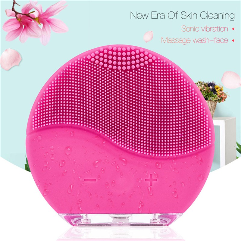 CkeyiN Wash Face Brush Waterproof USB Electric Silicone Sonic Vibration Facial Cleaning Brush Massager