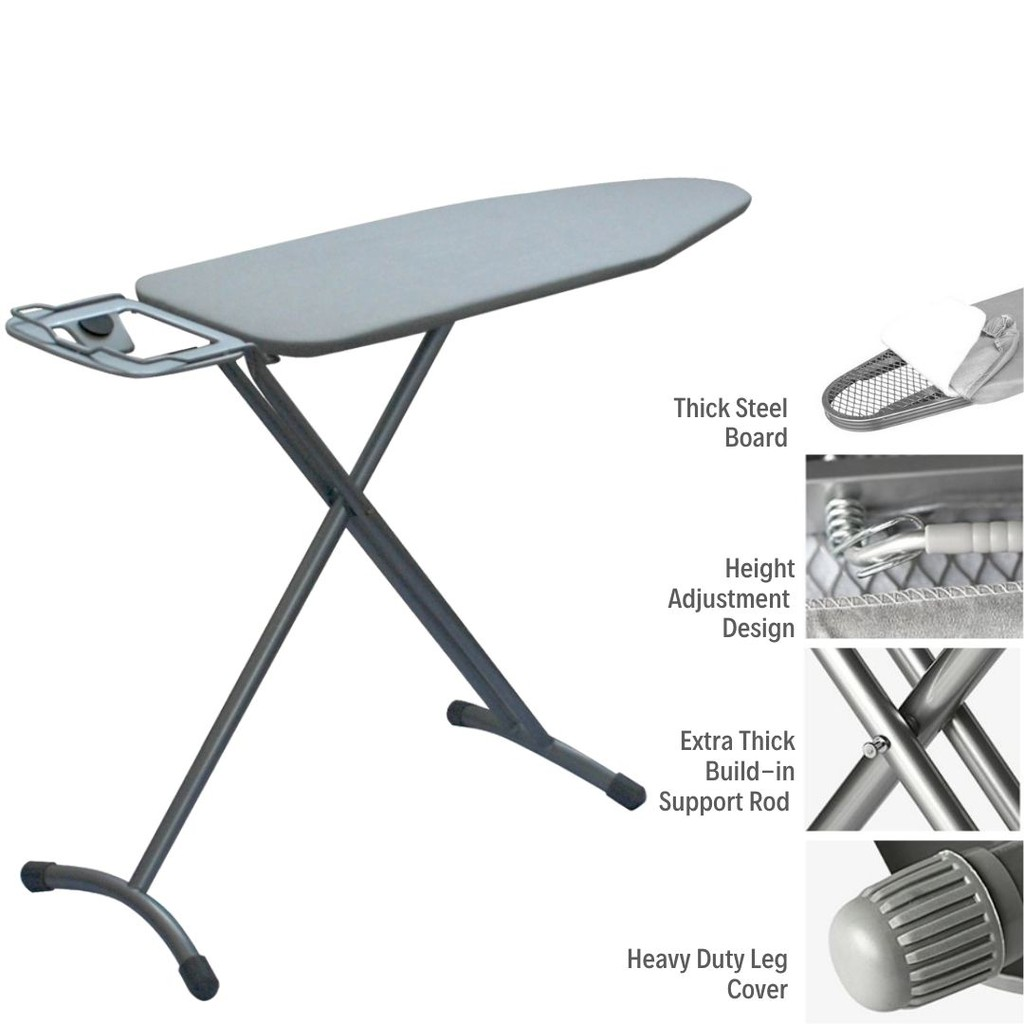 Premium Standing Iron Board with Iron Rest Hotel Quality Iron Board -Grey