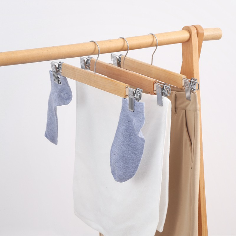 [Bundle of 10] Premium Wooden Trousers Hanger Socks Clip Stainless Steel Hook Non-slip Clothes Pegs