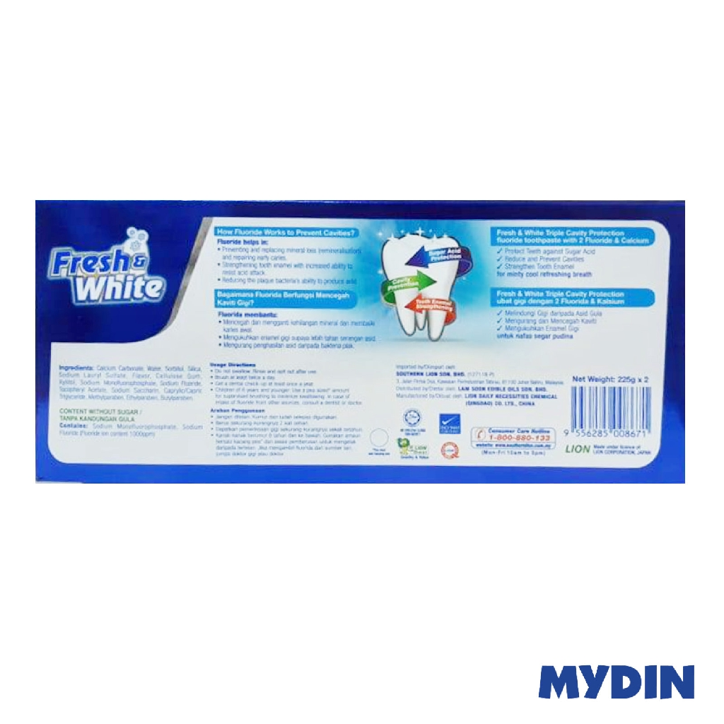Fresh & White Toothpaste Extra Cool Mint Twinpack 2 x 225g