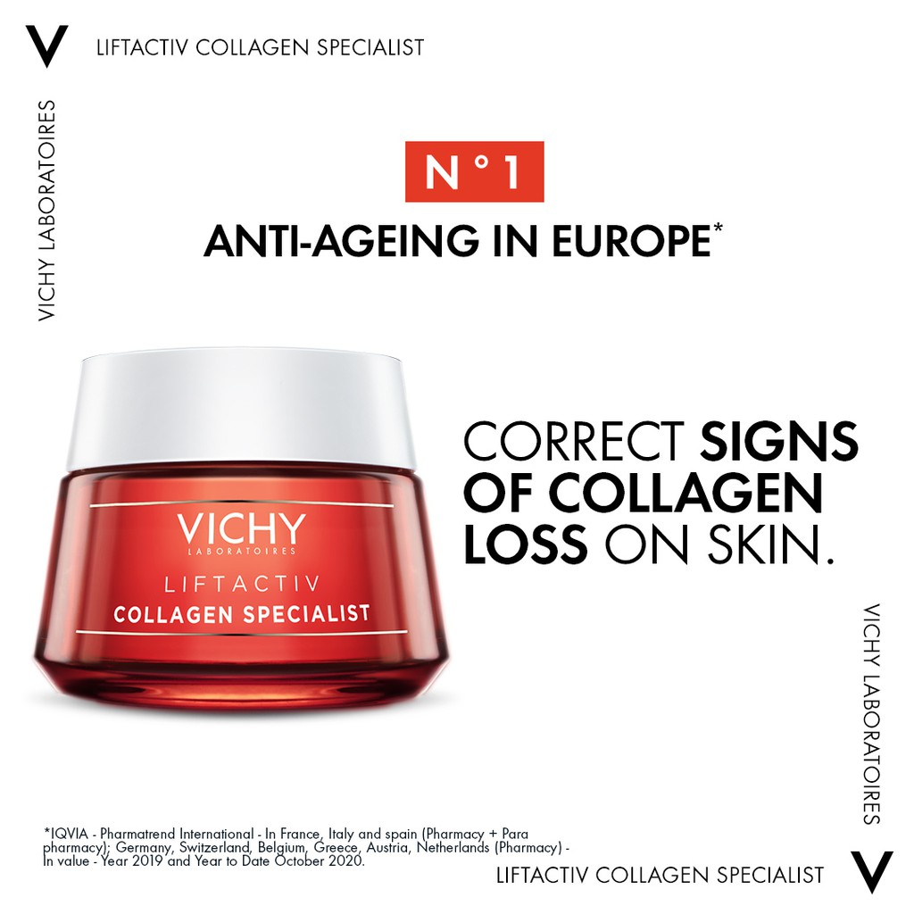 Vichy LiftActiv Collagen Specialist Night Cream 50ml | with Vitamin CG, Peptides & Resveratrol for Dull and Aging Skin