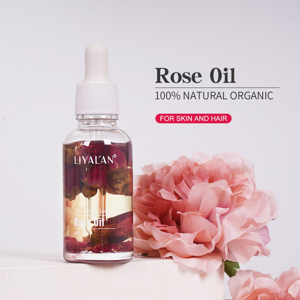 LIYAL'AN Pure Natural Organic Essential Rose Oil Massage Oil For Face Body And Hair 30ml
