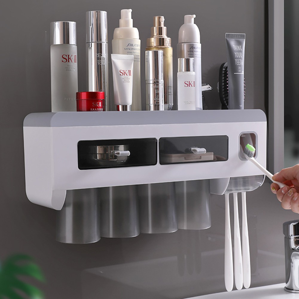LOCAUPIN Wall Mounted Toothbrush Holder with Cups Bathroom Shelf and Automatic Toothpaste Squeezer