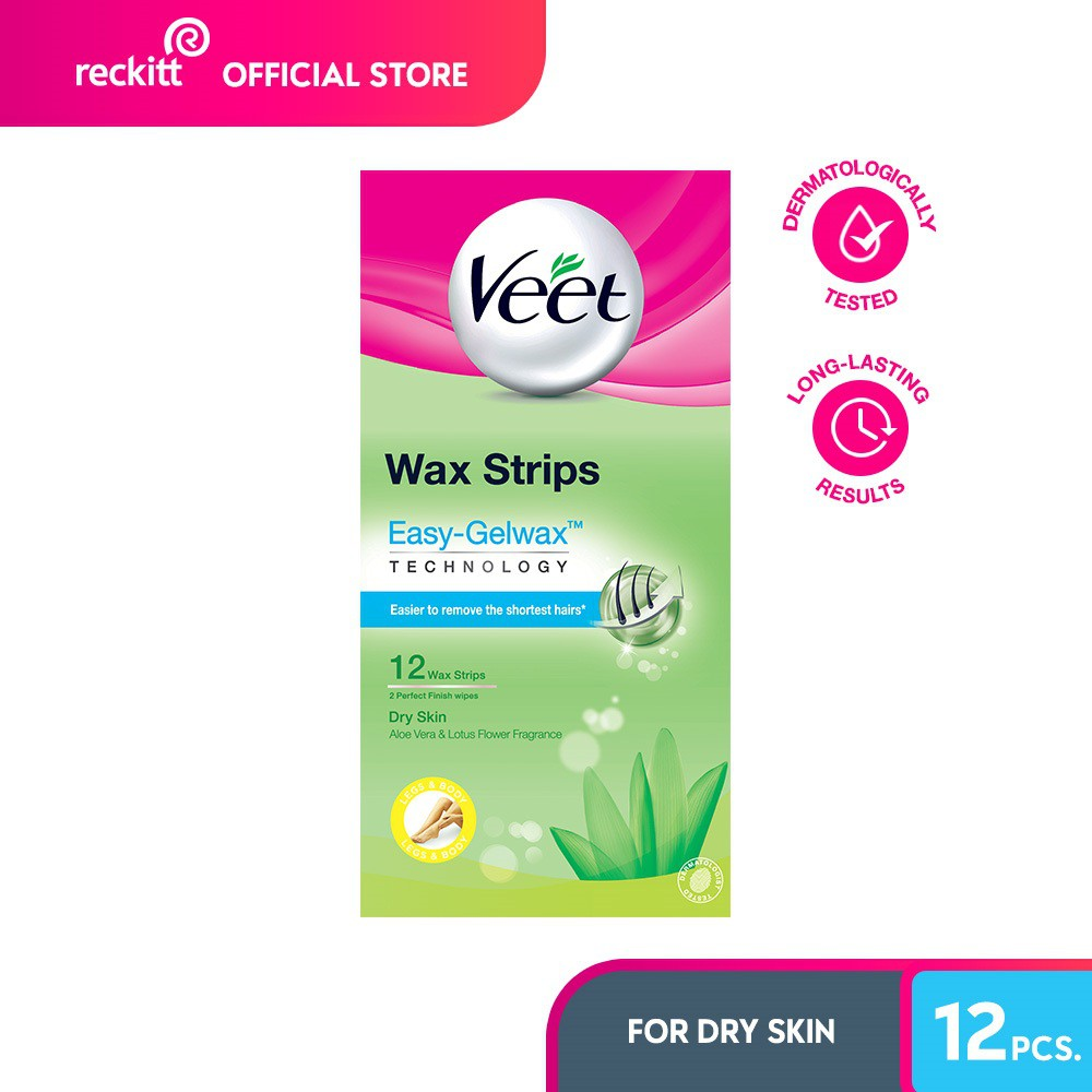 Veet Cold Wax Strips for Legs 12's Dry Skin