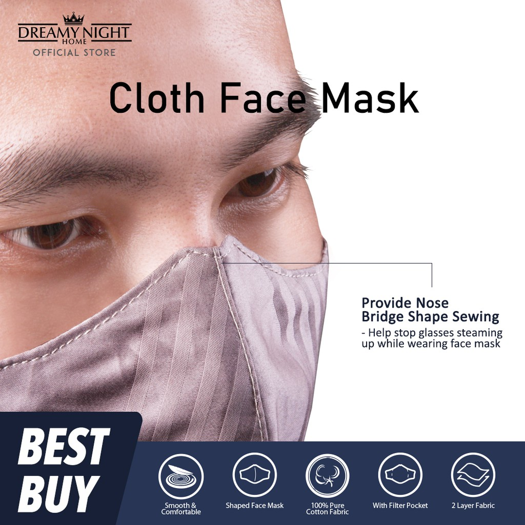 Dreamynight Home Fine Cotton 2 Layers Fabric Filter Face Mask