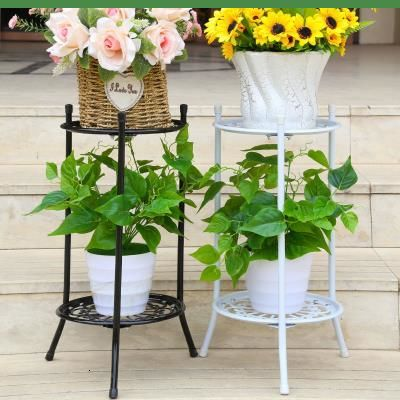 YSHF 2 Layer Iron Plant Shelves Flower Rack Floor-type Living Room Balcony Indoor Flower Pot Stand For Succulent Plant Stand