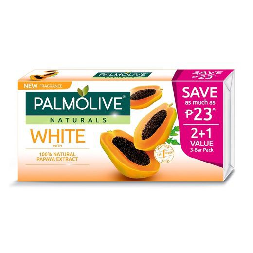 Palmolive Naturals White with Papaya Whitening Bar Soap 80g 2+1 Value Pack