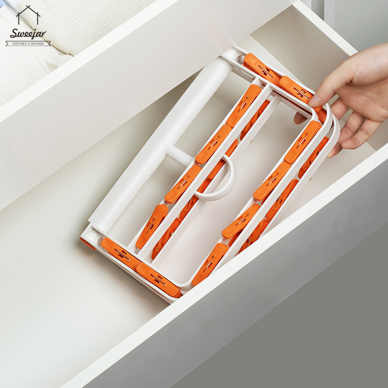 SWEEJAR Clips Hanger with 24 Clips for Socks Clothes Laundry Foldable Drying Hanging Rack