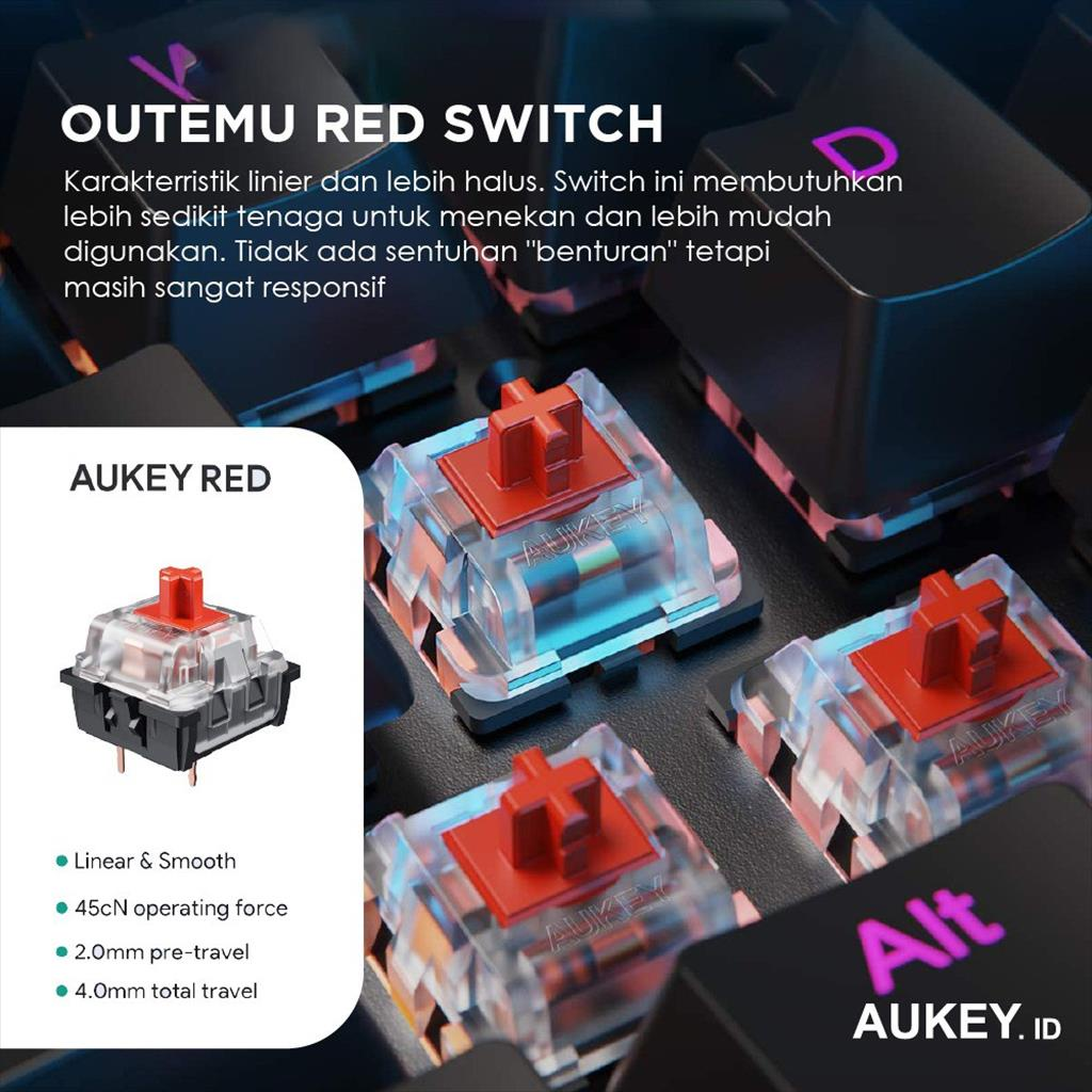 Aukey Keyboard Mechanical KM-G12 RGB with Outemu Red Switches - 500694