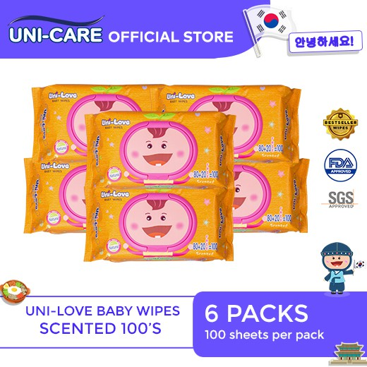 UniLove Powder Scent Baby Wipes 100's Pack of 6