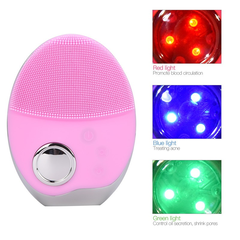 CkeyiN LED Light Photon Face Cleanser Ultrasonic Silicone Facial Brush
