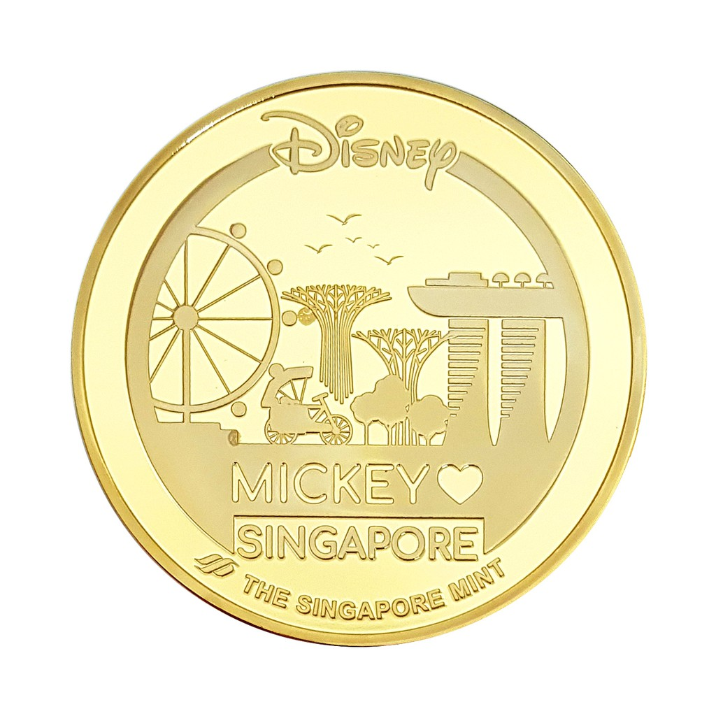 Mickey Love Singapore Gold-Plated Medallion