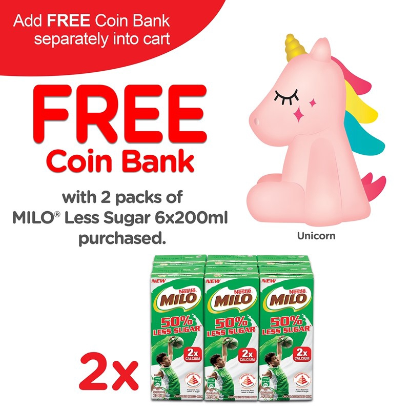 Free Gift with Purchase - MILO RTD Coin Bank Unicorn