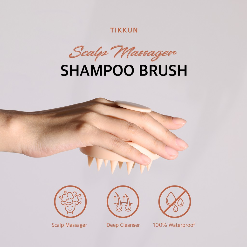 [TIKKUN] Scalp massager shampoo brush l Cleaning dandruff /scalp scrubber, exfoliator with long flexible nontoxic silicone bristles for wet and dry hair, for all types and ages/ baby pink color