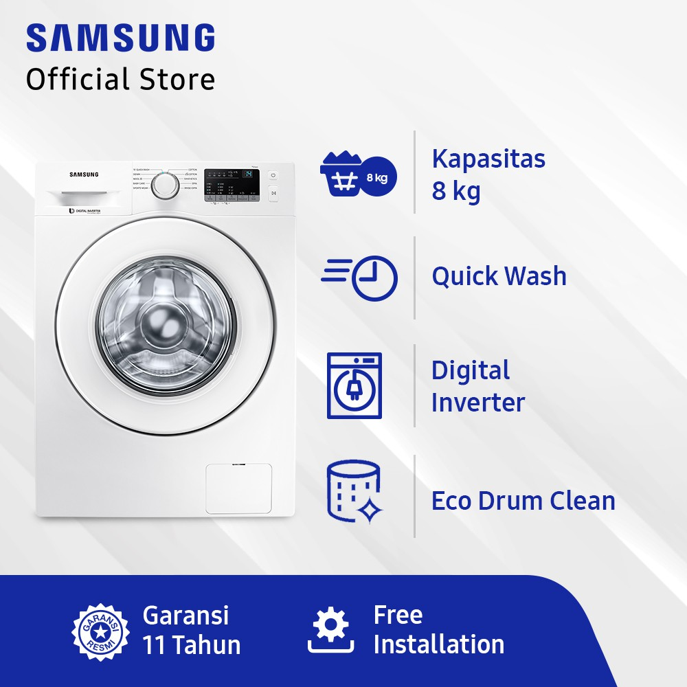 SAMSUNG MESIN CUCI FRONT LOAD 8KG WITH QUICK WASH - WW80J3230KW/SE - WHITE