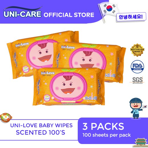 UniLove Powder Scent Baby Wipes 100's Pack of 3
